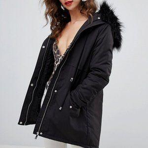 New Look Black Parka Faux Fur Hood Jacket 12
